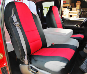 Dodge Ram 1998 2002 Black Red S Leather Custom Made Fit Front Seat Cover