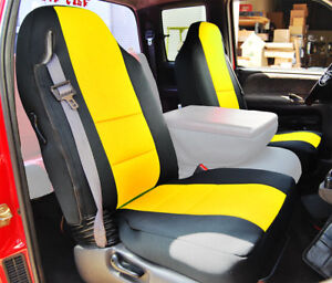 Dodge Ram 1998 2002 Black Yellow S Leather Custom Made Fit Front Seat Cover
