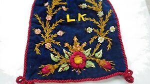Drawstring Velvet Bag W Silk Thread Ribbonwork Embroidery Monogram Lk Lined