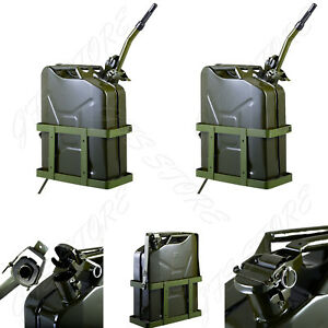 2 Jerry Can 5 Gallon 20l Gas Gasoline Fuel Nato Military Metal Steal Tank Holder