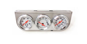2 Oil Pressure Voltage Meter Water Temp Triple Gauge Mechanical Chrome Bezel