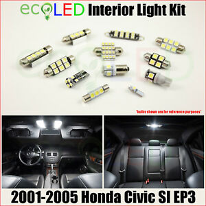 Fits 2001 2005 Honda Civic Si Ep3 White Led Interior Light Accessories Kit 7 Pcs