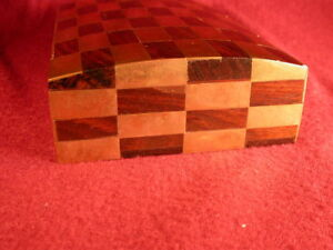Unusual Domed Wood Box With Brass Checkerboard Inlay Desk Dresser Jewelry