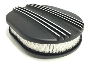 12 Oval Half Finned Black Aluminum Classic Air Cleaner Chevy Ford Mopar