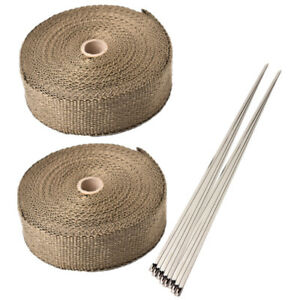 2 Roll 2 50ft Fiberglass Exhaust Header Pipe Heat Wrap Tape Ties Mortorbike Kit