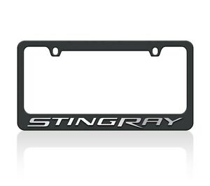 C7 Corvette Stingray Black License Plate Frame Ultra Chrome Letters