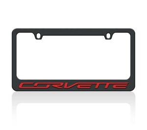 C7 Corvette Black License Plate Frame Red Letters