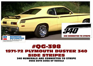Ge qg 398 1972 Plymouth Duster 340 Side Stripe Kit Connected Licensed