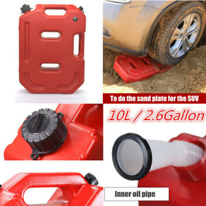 Portable 10l 2 6gal Jerry Can Suv Car Gas Oil Fuel Tank Wheel Recovery Extractor