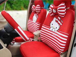 New 18ps set Cute Cartoon Hello Kitty Universal Car Seat Cover Four Seasons Red