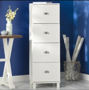 White Wood Metal Filing Cabinet Storage Home Office Tax Bills Letter A4 Files