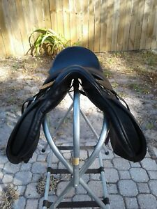 English Show Saddle Black Leather Equi Bette Ex Condition