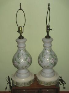 Matching Pair Of Vintage Handpainted Table Lamps Frosted White Bodies Nr 743