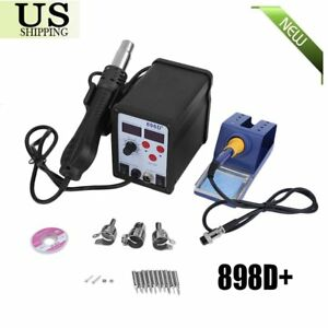 2 In 1 Soldering Rework Station Smd Hot Air iron Gun Desoldering Welder 898d Bk