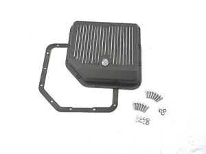 Aluminum Gm Turbo 350 Finned Transmission Pan Black Bpe 7201bk