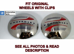 Pair Stainless Steel Hubcaps For 1941 48 Chevrolet Pickup Truck