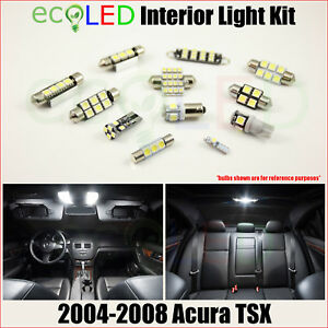 Fits 2004 2008 Acura Tsx White Led Interior Light Accessories Package Kit 8 Bulb