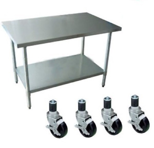 Work Table With 4 Casters Wheels Stainless Steel Food Prep Worktable 24 X 36