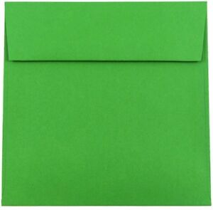 Jam Paper Square 6 1 2 X 6 1 2 Recycled Paper Envelopes Green 25 pack