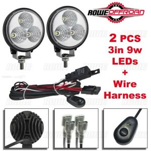 2pcs 3in 9w Led Round Offroad Work Fog Lights Wire Harness Kit Atv Suv Spot