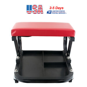 Rolling Creeper Seat Mechanic Stool Chair Repair Tools Tray Shop Auto Garage Red