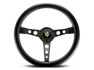 Momo Prototipo 350mm Tuning Racing Steering Wheel Black Leather Spoke