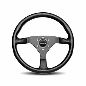 Momo Monte Carlo 350mm Tuning Racing Steering Wheel Black Leather Red Stitch