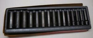 Mint Snap on 1 2 Drive Metric 6 Point Deep Impact Socket Set 15pc 315simmya