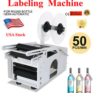Mt 50 Semi automatic Round Bottle Labeling Machine Labeler Scrolling Portable