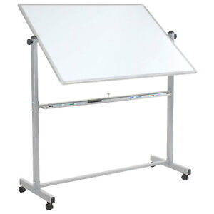Double Sided Rolling Magnetic Dry Erase Whiteboard 48 X 36 Lot Of 1