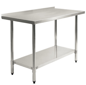 24 X 48 Inch Stainless Steel Food Prep Table With Backsplash Commercial Kitchen