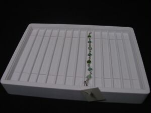 13 White Leatherette Bracelet Necklace Watch Chain Display Tray Stand Pt4 11w