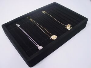 New 12 5 Black Velvet Bracelet Necklace Watch Chain Display Tray Stand Pt4 14b