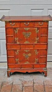 Antique Korean Bandaji Apothecary Chest Cabinet W Brass Batterfly Decoration