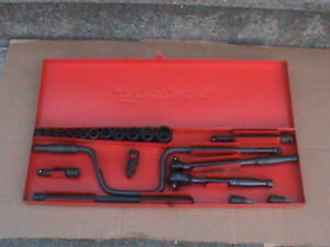 Snap On Vintage Industrial Sae 21 Piece Set 3 8 Drive With Metal Box Mint