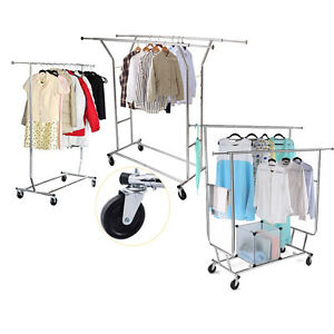 Commercial Grade Collapsible Cloth Rolling Double Garment Rack Hanger Heavy Duty