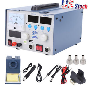 3 In 1 Rework Soldering Iron Station Digital Hot Air Gun Kit Power Suppl
