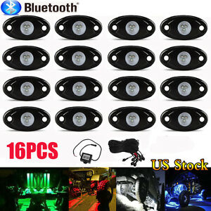 16pcs Led Rock Light Kits With 8 Pods Lights For Car Jeep Off Road Truck New Bp