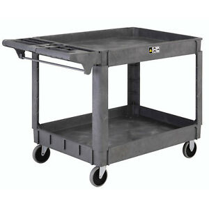 Large Deluxe 2 Shelf Plastic Cart 5 Rubber Casters 46 l X 25 w X 33 h Lot Of