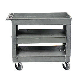 Plastic 3 Shelf Tray Service Utility Cart 5 Rubber Casters Lot Of 1