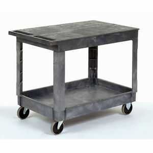 Plastic Flat Top Shelf Service Utility Cart 5 Inch Rubber Casters Lot Of 1