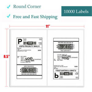 10000 Self Adhesive Shipping Labels 8 5x5 5 Half Sheet Round Corner Usps Fedex