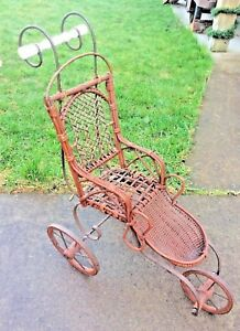 Antique Wicker Baby Doll Stroller Carriage Buggy For Child S Dolly Ornate