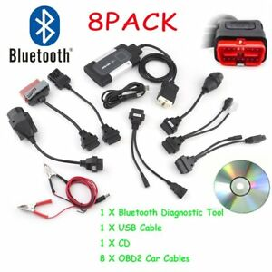 Bluetooth Tcs Cdp Pro Plus For Autocom Obd2 Diagnostic Tool 8pcs Car Cables Bt