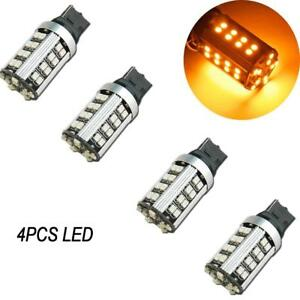 4pcs Pure Yellow 7440 7443 High Power Led 21w 50 smd Turn Signal Light Led Bulbs