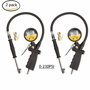 2 Digital Tire Inflator Pressure Gauge Valves Dial Dual Chuck Clip on 0 230psi B