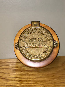 Vintage Badger Company Brass Water Meter Wood Mounted Trinket Desk Box