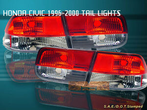 Fit For 96 00 Honda Civic Tail Lights Red clear 2dr Coupe 98 99