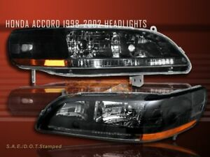 Fit For 1998 2002 Honda Accord Crystal Headlights Blk 1999 2000