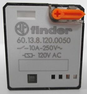 6 Finder 60 13 8 120 0050 Relays 3co 3pdt 10a 120vac